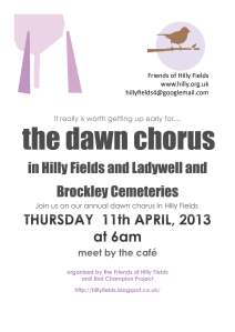 Join the Friends of Hilly Fields for a Dawn Chorus Walk