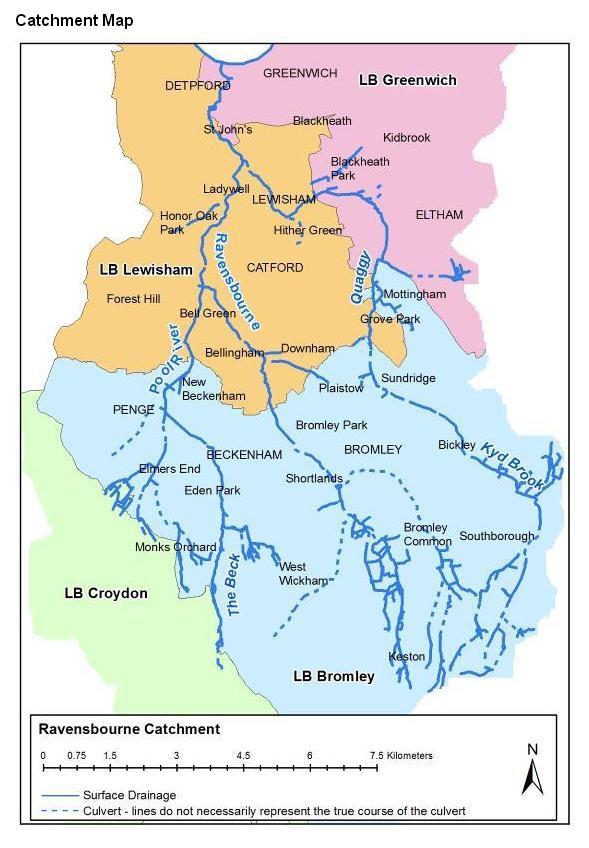 River Ravensbourne catchment map