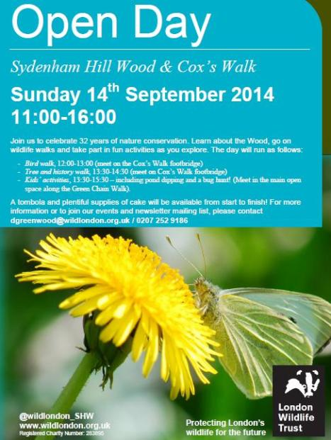 Sydenham hill wood open day 14th Sept