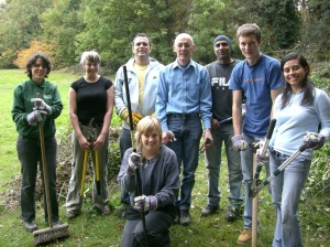 Members of the Environment Agency volunteering in Beckenham Place Park
