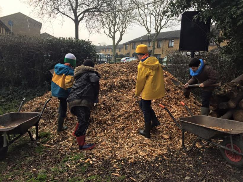 The woodchip pile!